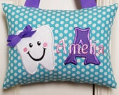 Tooth Fairy Pillow - Turquoise with White Dots Purple