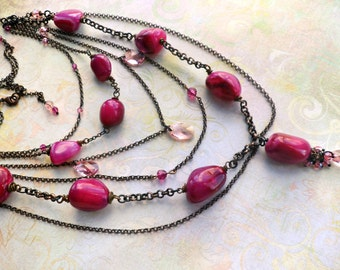 Magenta Divine Agate and Crystal Necklace