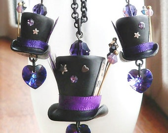 Mad Hatter Hat Pendant and Earrings Set - Made to Order