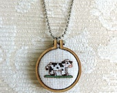 Cow Cross Stitch Pendant, Modern Wearable Cross Stitch Mini Hoop, Cross Stitch Keepsake Holstein Cow Necklace