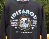 vintage 80s sweatshirt IDITAROD alaska last great race husky dog Large XL black 90s