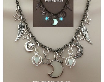 Celestial Magic Galaxy Glowing Stars Moon Charm Statement Necklace Wings Crescent Heart Glow in the Dark Luna Angel Fairy Mermaid Lights
