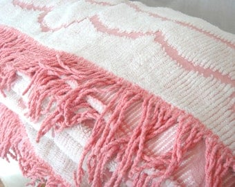 Vintage White on Pink Chenille Bedspread with Fringe, Double or Queen, Cottage Chic