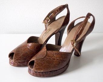 40s Alligator Peep Toe Platform Ankle Strap Heels Sz 7.5