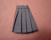 Blythe Blue Windowpane Wrap Pleated Skirt for Pullip and Vintage Skipper Too