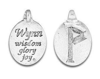 Set of two Rune Pendant, Rune Symbol,Norse Symbol,Celtic Symbol,Wynn Rune, Wunjo Rune,Symbol Joy, Pleasure, Friendship, Pewter, Made in USA
