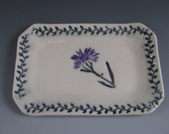 Ceramic Pottery Soap Dish / Trinket Tray Purple Flower