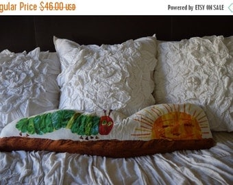 FLASH SALE / 25% off Vintage 70s 80s Very Hungry Caterpillar Elongated Throw Pillow