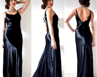 SUMMER SALE / 20% off Vintage 80s 90s Black Satin Low Back 1930s Style Evening Gown with Chiffon Train (size small)
