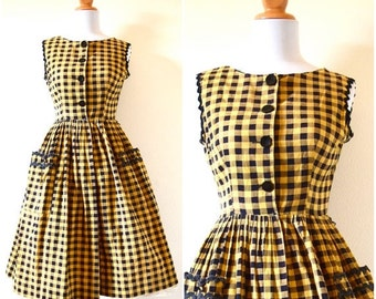 SUMMER SALE / 20% off Vintage 50s 60s Grand Central Station Yellow and Black Checkered New Look Cotton Dress (size xs, small)