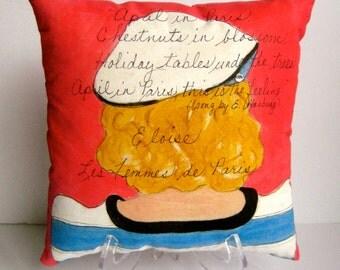 ELOISE PARIS GIRL, Hand Painted Pillow, Paris quote, hot pink, ocean blue, beret, Paris, Paris woman, gift for woman, Bonjour, stripes