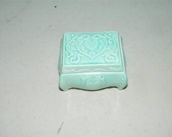 Vintage Aqua Duncan Enterprises 1977 Ceramic Trinket Box 12030
