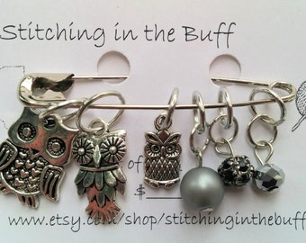 owl and jewel stitch markers mixed sizes