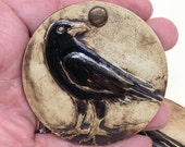 Ceramic Crow Wall Hanging, Clay Raven Ornament, Bird Charm, Nature Ornament, Christmas Ornament