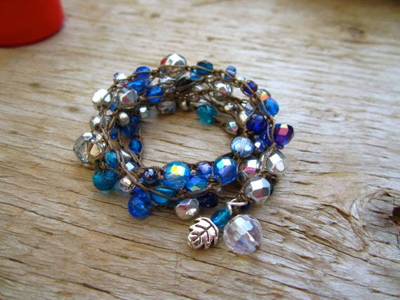 Royal Blue or Emerald green gorgeous crystal wrap 4 times wrap, natural comfortable  boho
