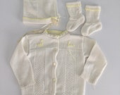 Vintage 50s 60s Newborn Baby Cardigan Sweater Set Booties and Bonnet