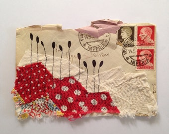 Original Mixed Media Collage - Envelope with textile - red - SEW Somerset
