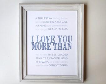 FRAMED Baseball Team Word Art, Love You More than Baseball, Father's Day, Birthday Gift, Typography Art, Baseball Fan, Sports Art
