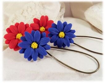 Aster Blue Dangle Earrings - Blue Aster Drop Earrings, September Birthday Birth Flower
