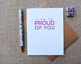 Letterpress Greeting Card - Friendship Card - Milestones - I am so Proud of You - MLS-091