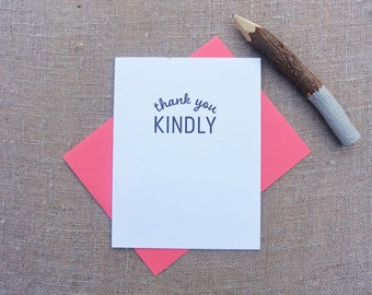 Letterpress Greeting Card  - Thank You Card - Stuff My Friends Say - Thank You Kindly - STF-097