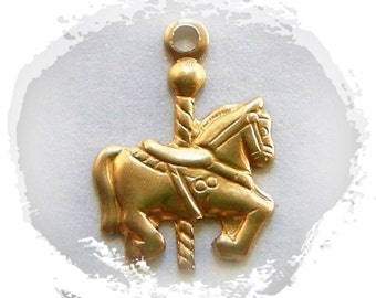 BRASS (14 Pieces) Carousel HORSE Charms - Carousel Stampings (G)
