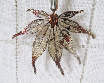Copper Dipped Japanese Maple Leaf, Ornament, Pendant