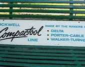 SALE Vintage ROCKWELL DELTA tool sign advertising, 1960s Compactool - hardware store