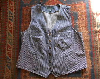 1/2 off Vtg indigo striped denim vest Ralph Lauren, railroad hickory stripe, 1990s - women Plus Size XL 1X