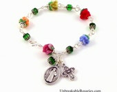 St Benedict Rosary Bracelet With Lampwork Glass Rose Beads and 4-Way Cross