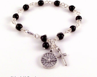 Holy Spirit Rosary Bracelet Wire Wrapped by Unbreakable Rosaries Choice of Black, White or Gray