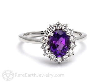 Amethyst Ring Oval Cluster Halo with Diamonds February Birthstone Purple Gemstone Ring