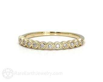 Diamond Wedding Band Milgrain Vintage Diamond Ring 14K Yellow Gold Diamond Anniversary