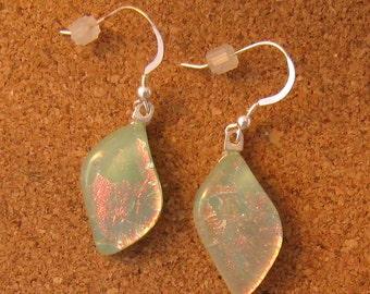 Mint Green Dichroic Earrings - Fused Glass Earrings - Teardrop Earrings - Dichroic Jewelry - Fused Glass Jewelry - Glass Earrings