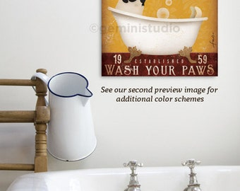 Pug dog bath soap Company artwork on gallery wrapped canvas by Stephen Fowler