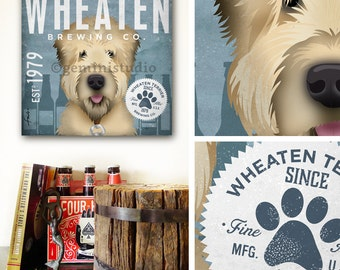 Wheaten Terrier dog beer brewing company artwork on gallery wrapped canvas by stephen fowler