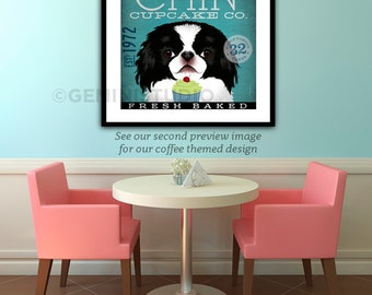 Japanese Chin Dog coffee cupcake company graphic ilustration giclee archival signed artists print by stephen fowler Pick A Size