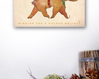Golden Retriever dog Christmas Tree artwork on gallery wrapped canvas by Stephen Fowler