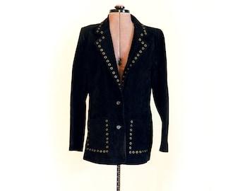 Vintage 90s Black Suede Jacket, Blazer, Unique, Metal Accents, Big Notched Collar, Womens, Semi Fitted, Big Patch Pockets, Hippie, Rocker