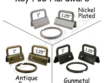 100 Key Fob Hardware with Key Rings Sets - Pick Finish and Size - Plus Instructions - SEE COUPON