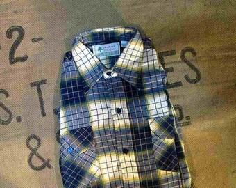 vintage flannel shirt 70s deadstock navy blue plaid cotton shirt green plaid shirt farm fields S M