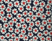 Vintage Fabric - White daisies with Red centers on Navy background - 1 yard - Fun retro design - Heavyweight woven cotten