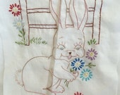 Vintage Set of 2 Embroidered Fabric Squares - Deer and Bunny -For Quilting or Framing - Perfect for Baby or Child - Soft neutral colors