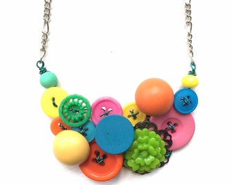Button Necklace made from Colorful Vintage Buttons - One of a Kind Necklace