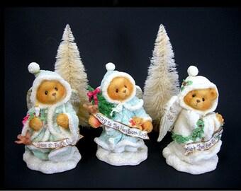 Christmas Angels Cherished Teddies, 1996, 3 Sparkling Figurines, MIB Priscilla Hillman, Enesco, Collectible Bears, Holiday Home Decor