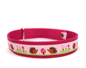 "1"" Hedgehog Picnic martingale or buckle collar"
