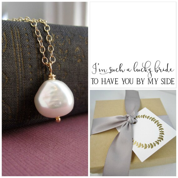 Pearl bridesmaid necklace, message card, nugget pearl necklace, bridesmaid gift, thank you card, silver necklace, gold necklace, large pearl