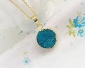 Druzy Crystal Turquoise Blue Necklace~ Genuine Gemstone & Gold Filled Feminine Boho Pendant~Trendy Fashion Jewelry~Gift For Her