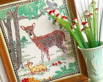Oh Deer... Vintage Handmade Woodland Momma Deer Doe and Fawn Framed Art Work Artwork Embroidery Hand Stitched