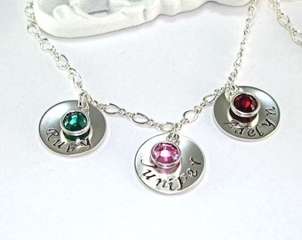 Personalized, mothers necklace, hand stamped jewelry, 4 to 6, sterling silver disk, swarovski birthstone, mom, grandmother, figure 8 chain